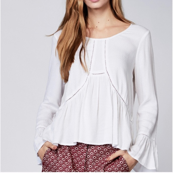 aff0dce781a136 Eden Society Tops | White Bell Sleeve Flowy Top | Poshmark